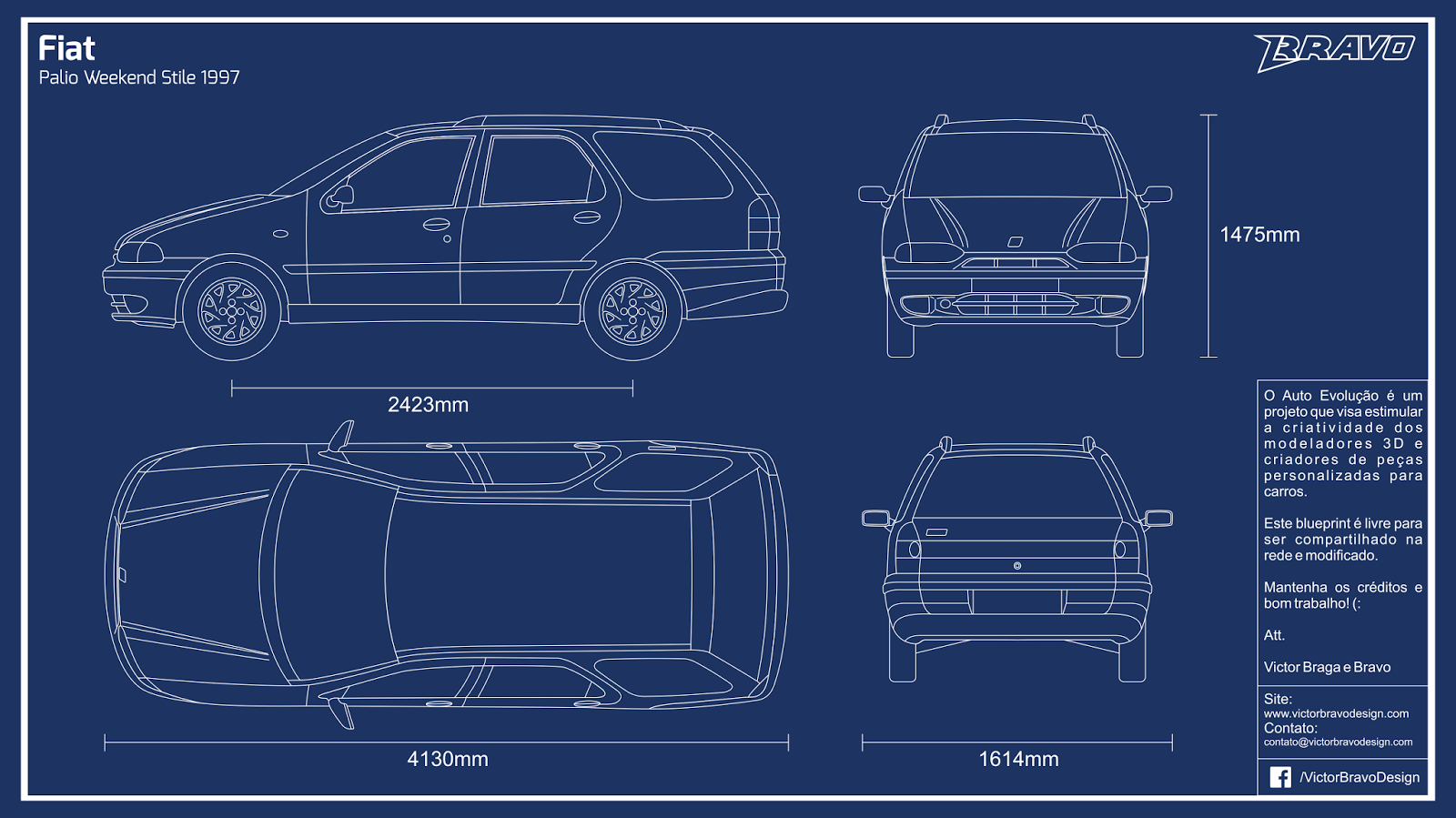 Imagem do blueprint do Fiat Palio Weekend Stile 1997