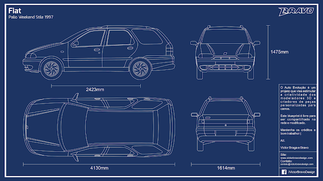 Imagem do blueprint do Fiat Palio Weekend Stile 1997