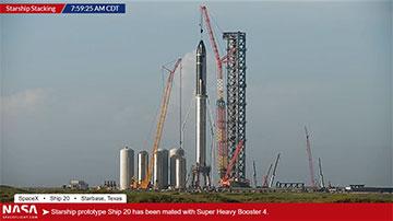 Hooray, Starship SN20 lifted on top of Super Heavy Booster BN4! (Source: NASAspaceflight.com)