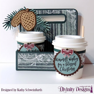 Stamp/Die Duo:  Deer Ornament  Custom Dies:  Milk Carton Holder, Mini Coffee Cup Wrapper and Layer, Pinecones & Pine Branches, Circles, Scalloped Circles Paper Collection: Christmas 2017 Other: Mini Coffee Cups