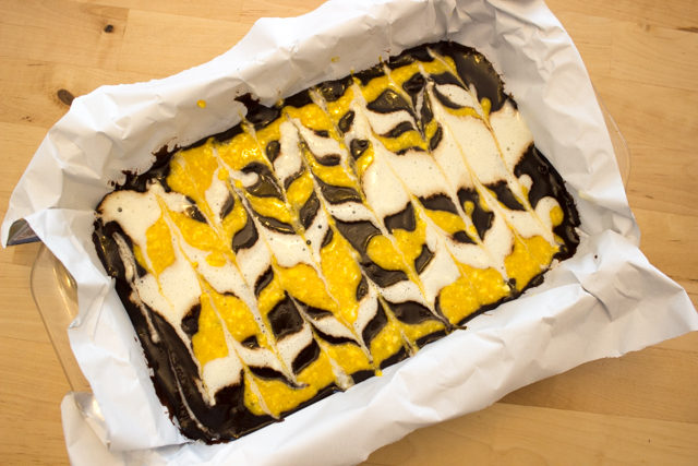 How to Make Groovy Pumpkin, Cheesecake Marbled Brownies- The Easy way to make a groovy fall dessert (with a boxed mix!)