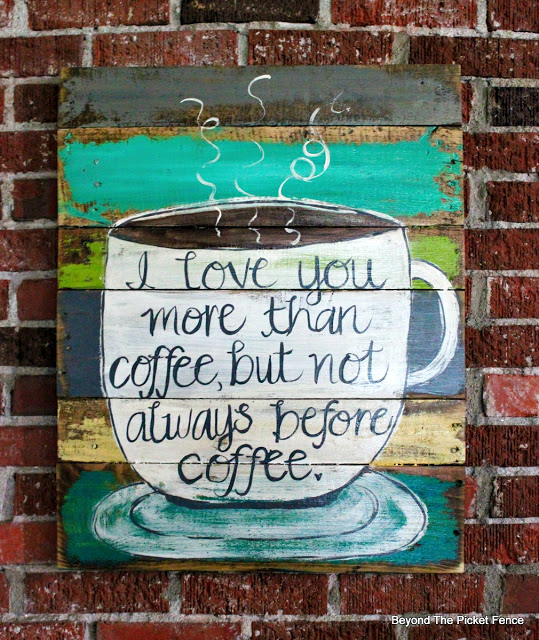 coffee sign, salvaged wood, reclaimed wood, coffee cup, hand lettered, https://goo.gl/wdYz0C