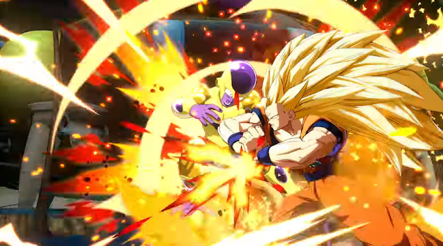 Dragon Ball FighterZ Super Saiyan 3 Goku Golden Frieza attack
