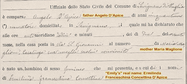 In 1907 Emily's town was called Savignano di Puglia. She was born on Via San Giovanni.