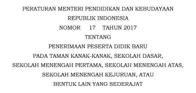 Dalam Peraturan Menteri Pendidikan Dan Kebudayaan Nomor  Tentang Penerimaan Peserta Didik Baru Pada Taman Kanak Kanak Sekolah Dasar