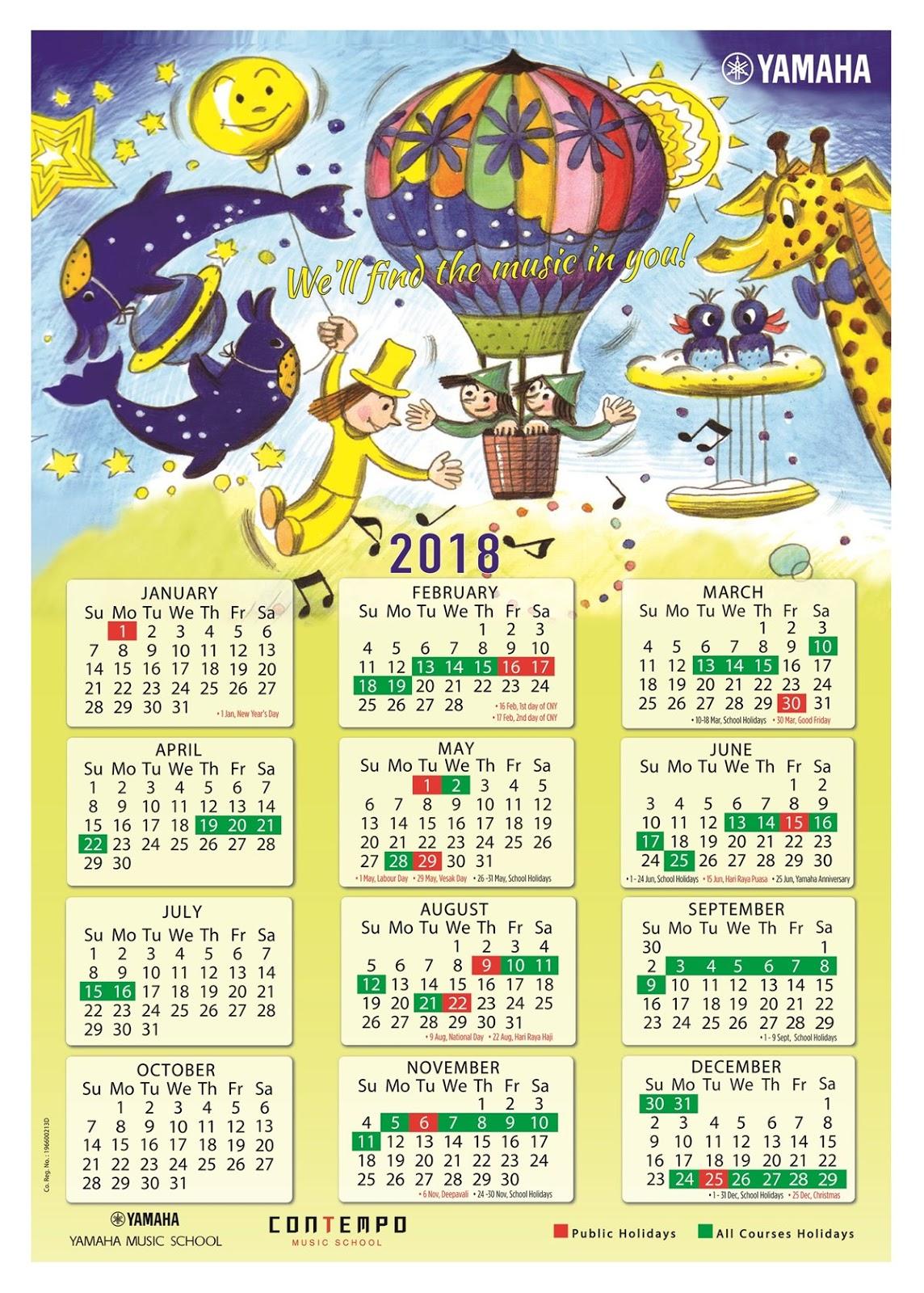 Electone Corner Yamaha Course Calendar 2018