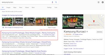 Contoh Artikel Page One dan Urutan Pertama Mesin Pencari Google