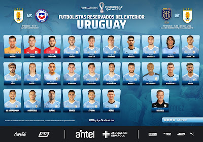 تواجد سواريز وغياب كافاني في قائمة أوروجواي لمباراتي تشيلي والإكوادور