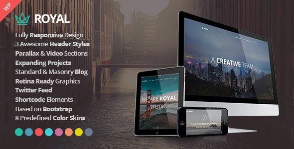 Royal One Page Parallax Responsive WordPress Themes
