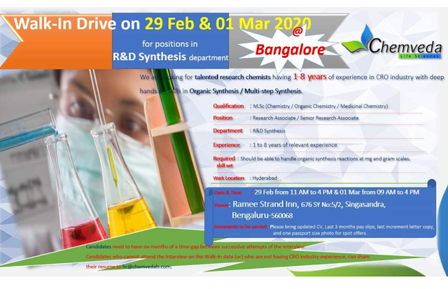Chemveda Life Sciences Walk in Drive- R&D Synthesis On 29th Feb 2020 @ Bangalore