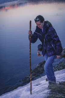 Photograph of Audrey of Cramer Imaging climbing up a snowy slope in the winter