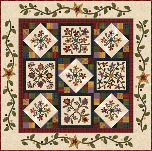 Folk Art Flannel 2 Quilt designed by Janet Rae Nesbitt of One Sister Designs