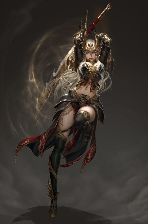 Shin Taesub 신태섭 artstation arte ilustrações fantasia games mulheres asiáticas