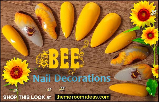 Bumblebee and Sunflower fake nails bee nails Sunflower nails bumble bee nails