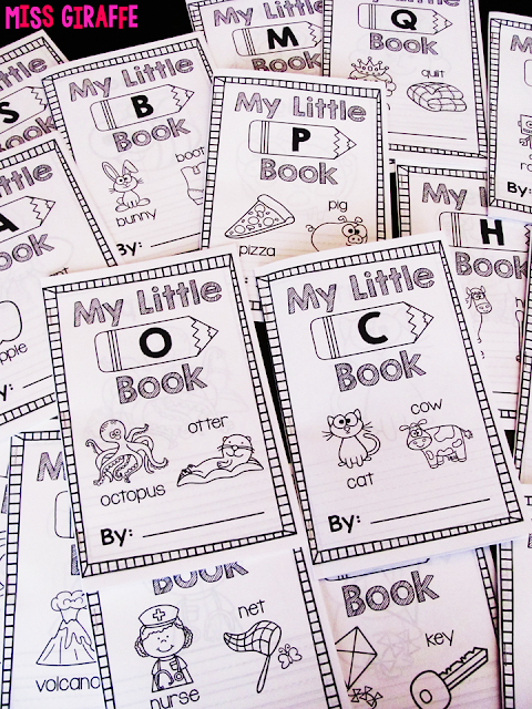 """Alphabet books to practice letter recognition and writing words that start with each! These are SO cute and perfect to use each week in kindergarten or preschool for kids to take home and """"read"""" to their families!"""