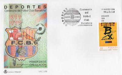 filatelia, sobre, sello, matasellos, Barcelona, fútbol, centenario