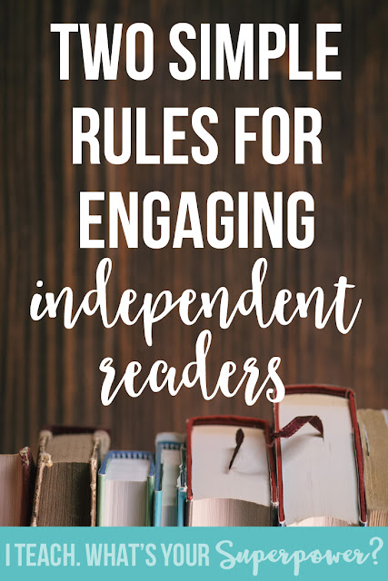 Two simple rules for engaging independent readers: it's a easy and challenging as this.