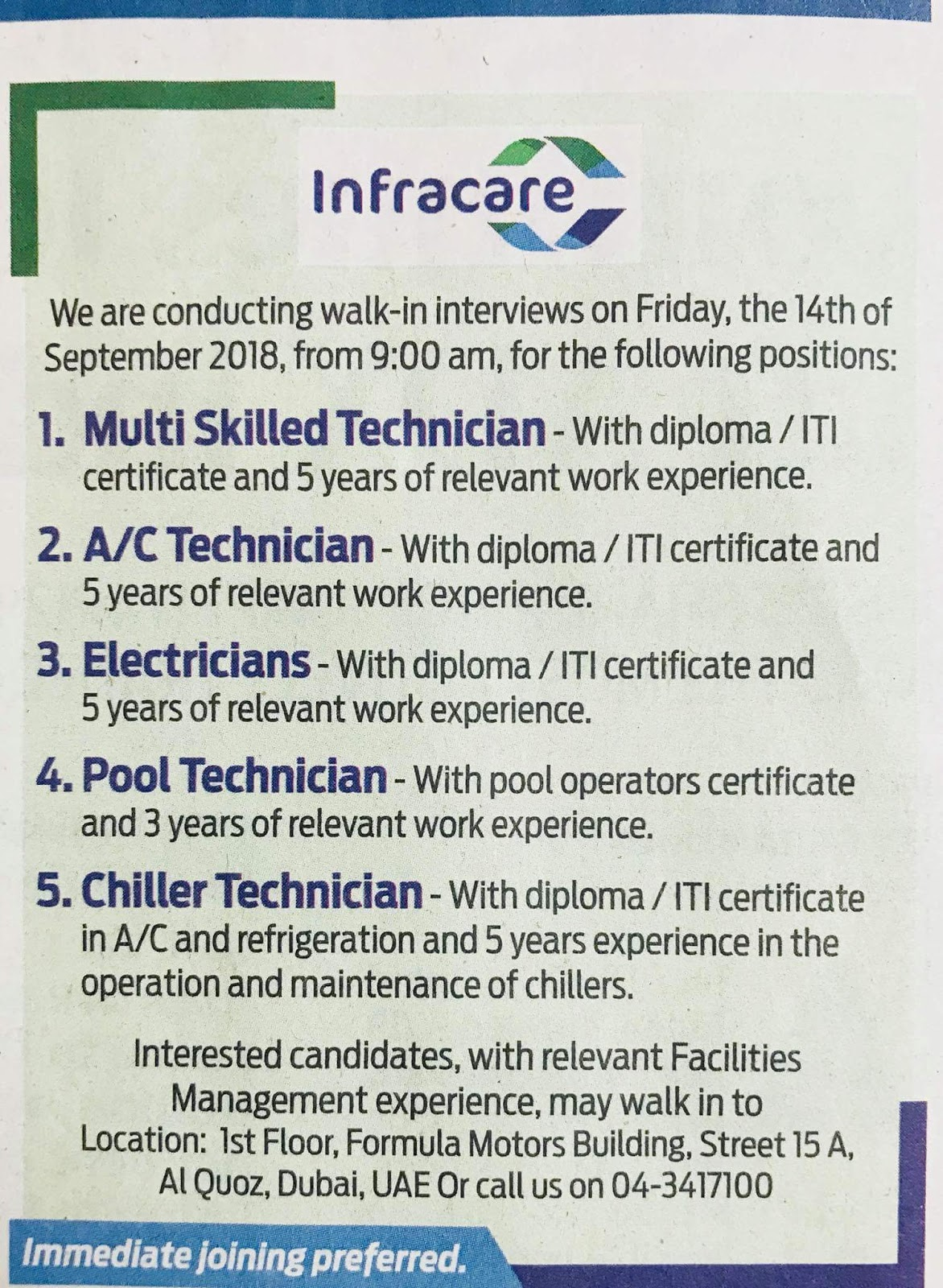 Required Technicians for INFRACARE Interview 14th sept 2018