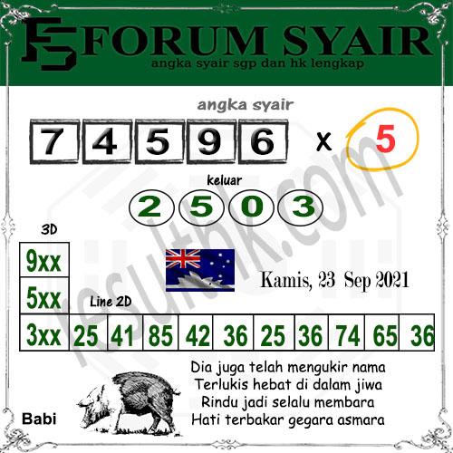 Forum syair Sidney Kamis 23 September 2021