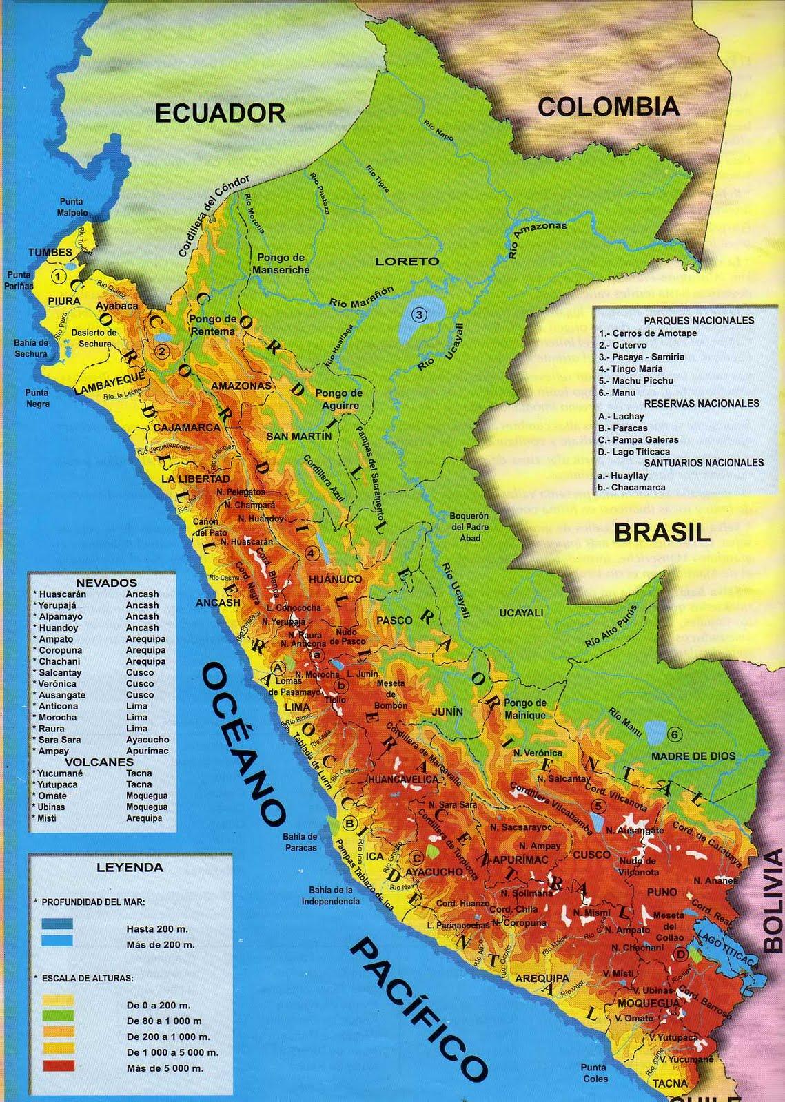 Mapa Politico Del Peru.Peru Mapa Geografico