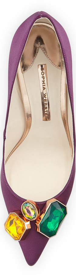Sophia Webster Lola Gem Satin Pump, Aubergine