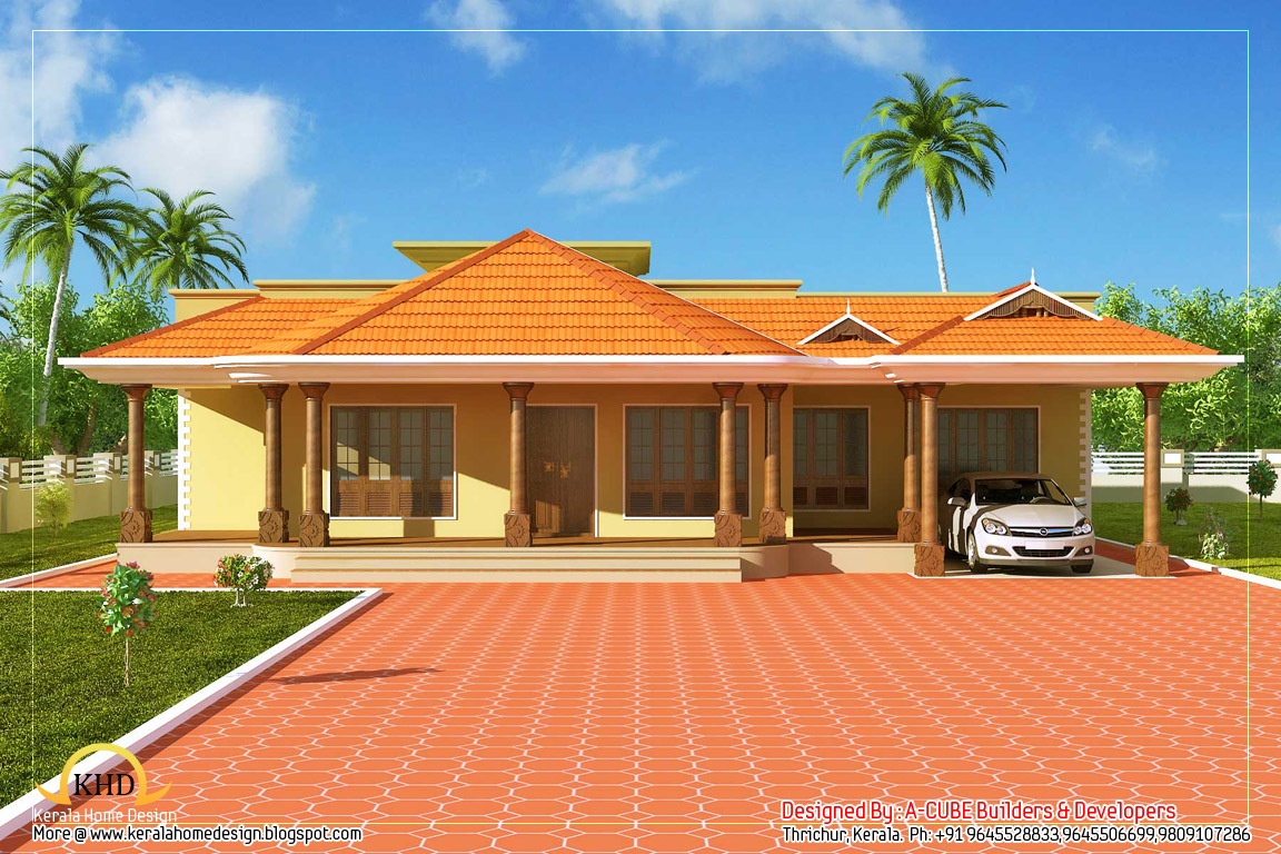 Kerala style single floor house 2500 sq ft kerala for Single floor house