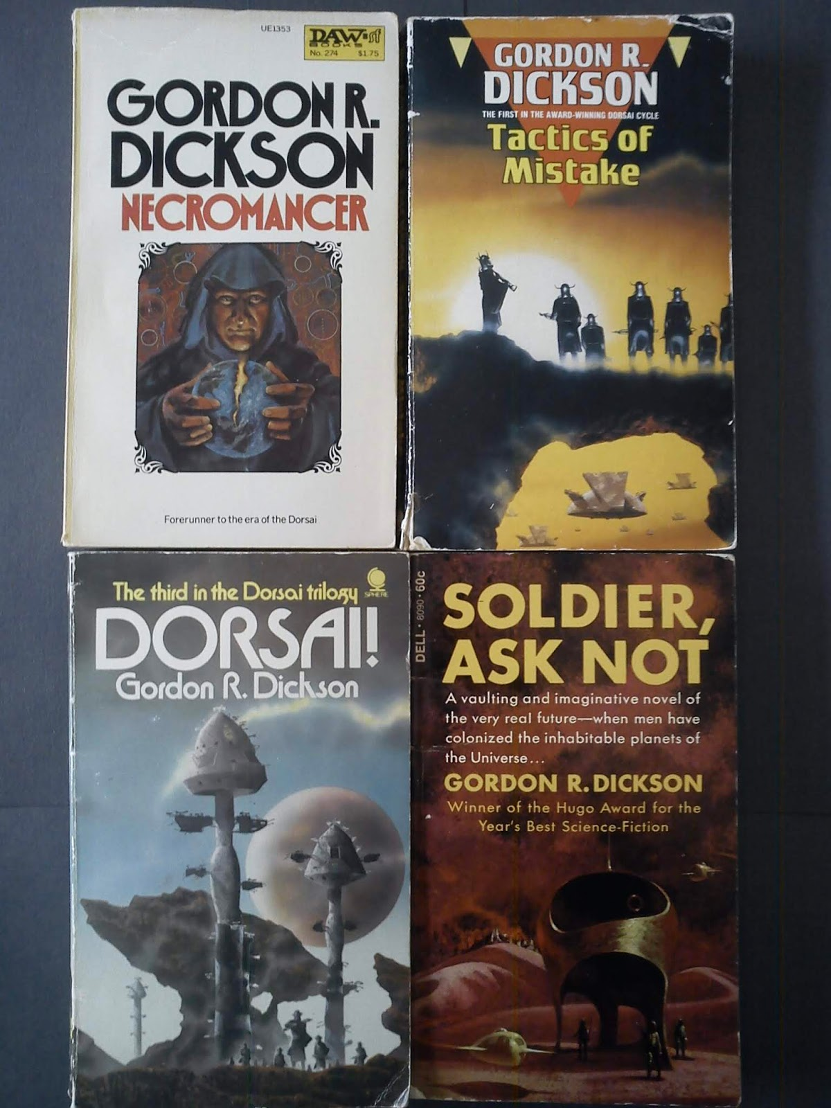 The pic tells of books by Gordon Dickson and he is featured below. But the  entry is about more authors than just him.