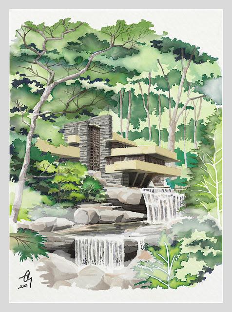 Diễn họa kiến trúc Nhà trên thác (Falling House)