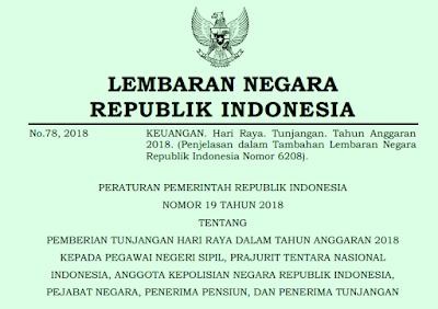 PP Nomor 19 Tahun 2018 Tentang Pemberian THR