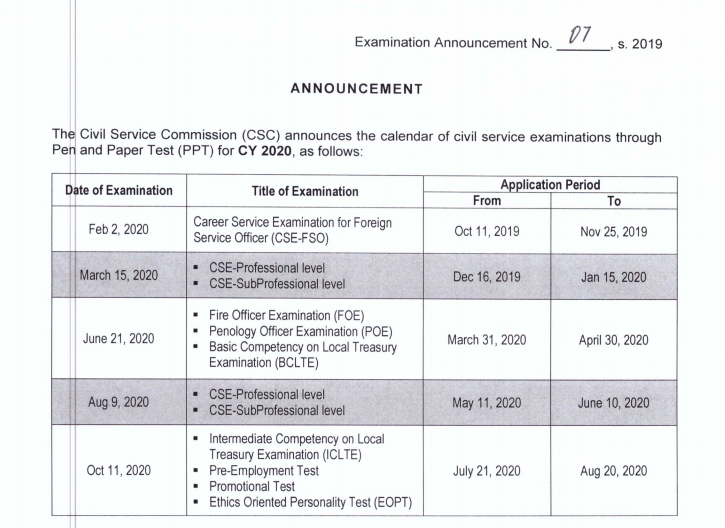 CSC releases exam calendar for 2020