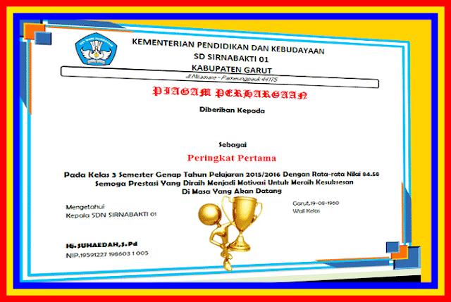Contoh Piagam Penghargaan Sekolah Untuk Siswa Berprestasi Versi Terbaru