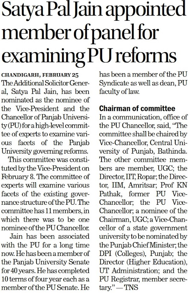 Satya Pal Jain appointed member of panel for examining PU reforms