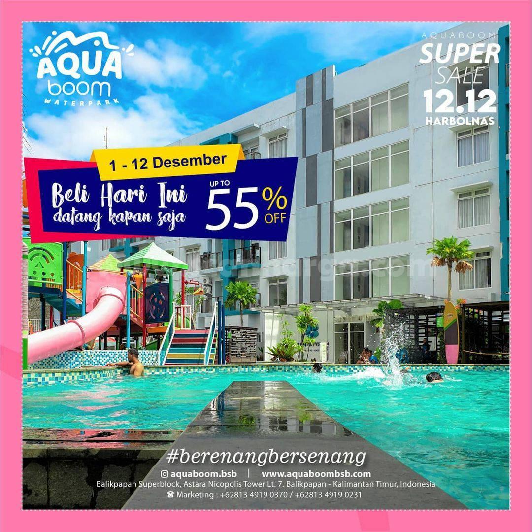 Aquaboom Promo Super Sale 12.12 HARBOLNAS Diskon hingga 55%