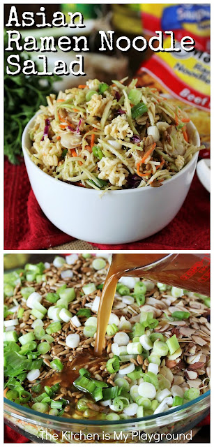 Asian Ramen Noodle Salad with Broccoli Slaw ~ Loaded with wonderful crunch from Ramen Noodles, sliced almonds & sunflower seeds, this Asian Ramen Noodle Salad is a classic, for sure. It takes advantage of packaged broccoli slaw, making it super easy to whip up a big bowl of this flavorful favorite.  www.thekitchenismyplayground.com