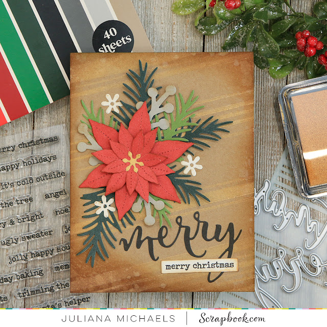 Poinsettia Christmas Card by Juliana Michaels featuring  Scrapbook.com Cardstock Paper Pads