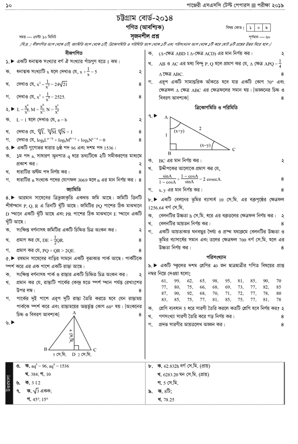 SSC Math Chittagong Board 2014