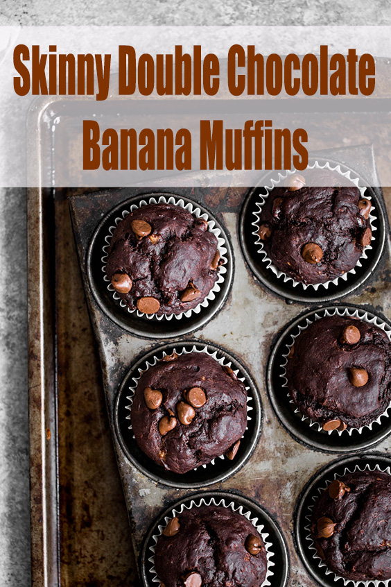Skinny Double Chocolate Banana Muffins
