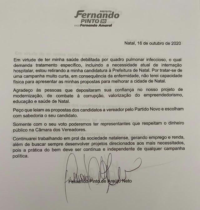 Candidato a prefeito de Natal renúncia candidatura
