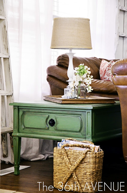 DIY Green End Table Makeover at the36thavenue.com
