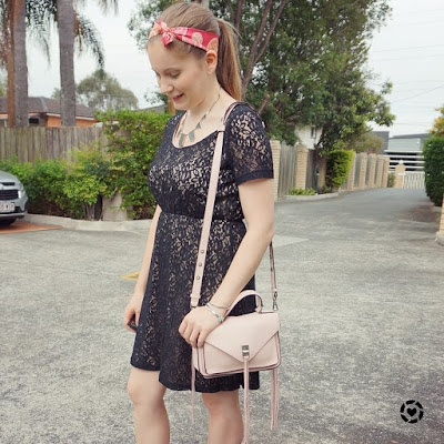 awayfromblue isntagram black lace dress with hermes twilly in hair and peony pastel oink darren messenger bag