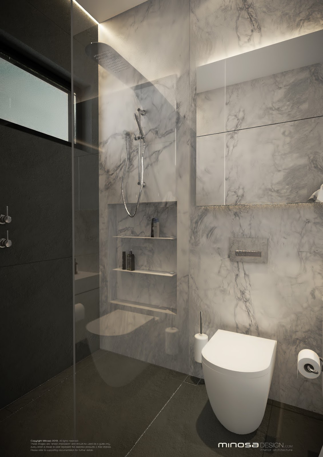 Minosa modern monochrome bathroom design for Monochromatic bathroom designs