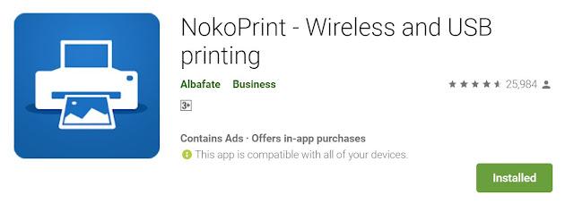Aplikasi Nikoprint boleh didapati daripada Play Store bagi pengguna Android.