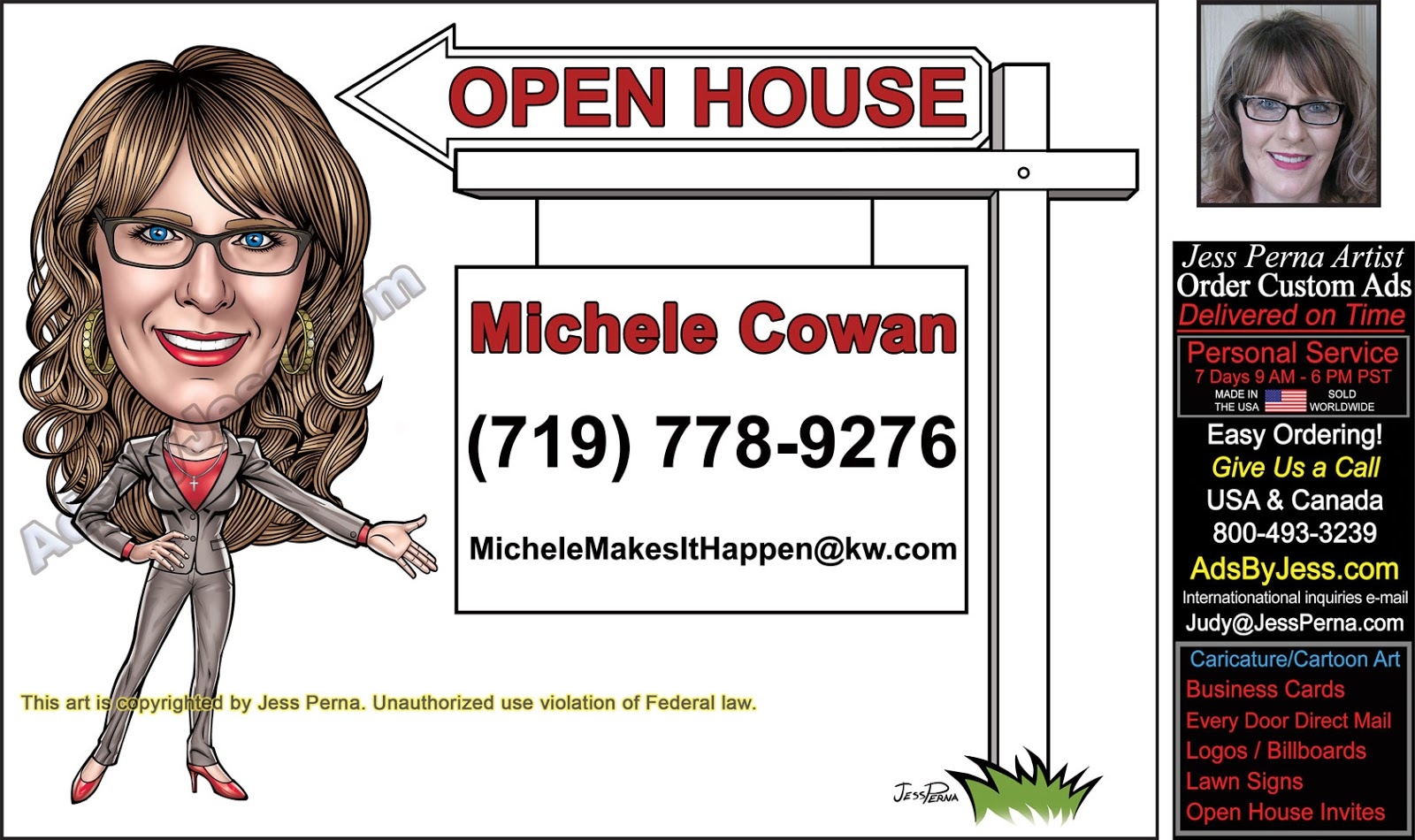 How to order keller williams business cards december 2017 open house signs real estate agent caricatures reheart Image collections