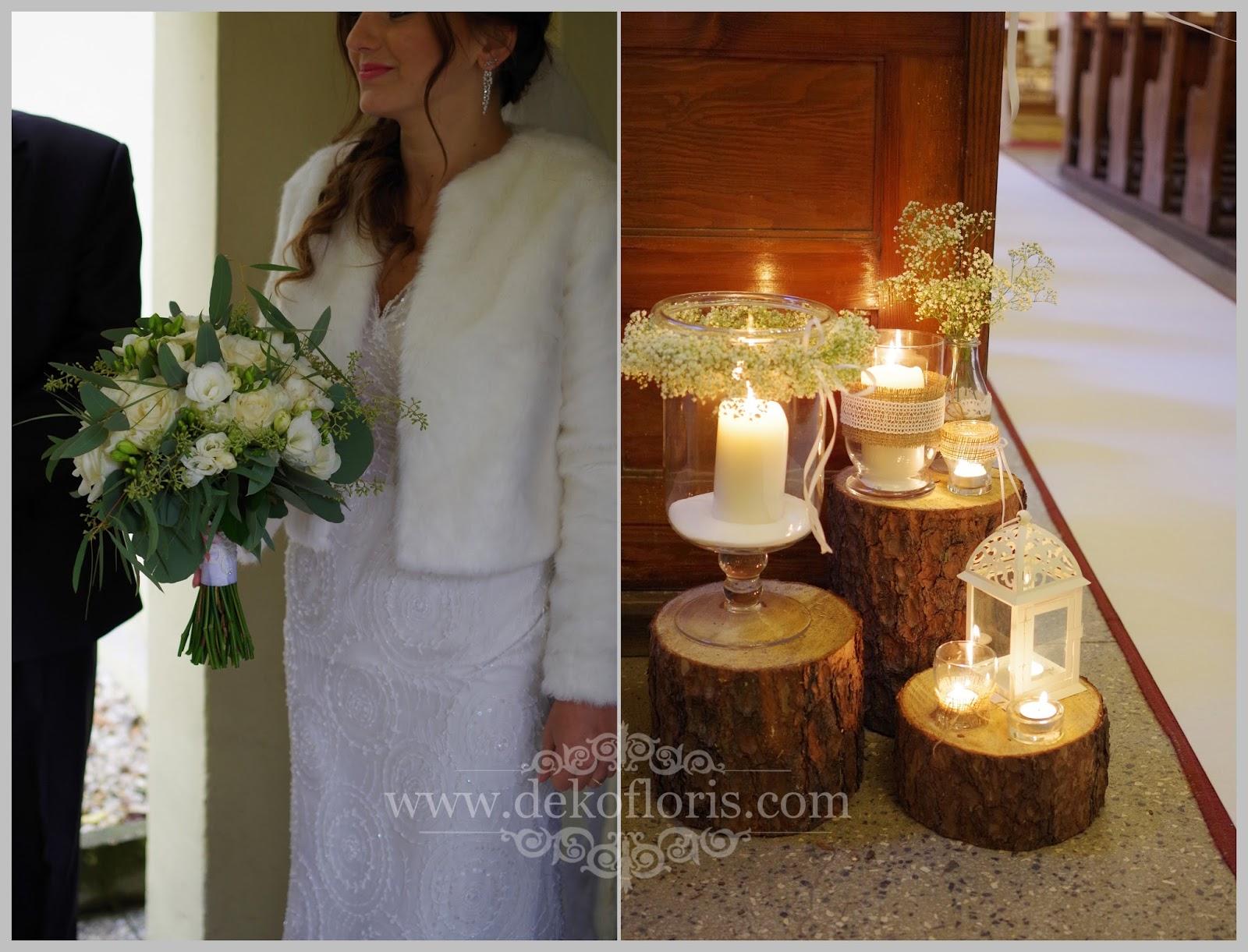 Rustykalny ślub bukiet i dekoracja kościoła białe róże