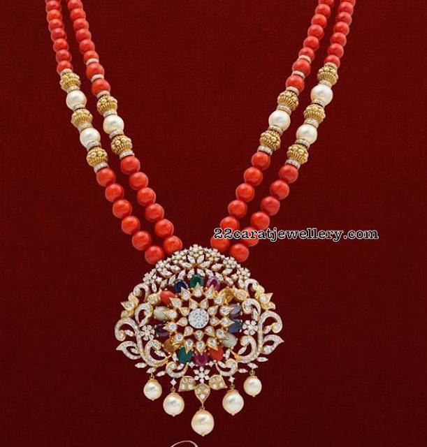 Coral Beads Long Chain Diamond Locket