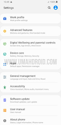 Samsung Work Profile Settings Menu