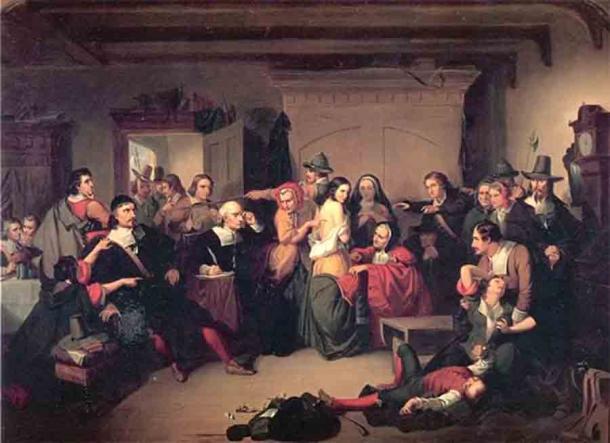 Esame di una strega in un processo negli Stati Uniti a metà del 19° secolo d.C.