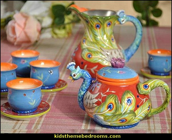 Peacock Tea Set Painted Pottery  kitchen accessories - fun kitchen decor - decorative themed kitchen  - novelty mugs - kitchen wall decals - kitchen wall quotes - cool stuff to buy - kitchen cupboard contact paper -  kitchen storage ideas - unique kitchen gadgets - food pillows - kitchen accessories - fun kitchen decor - decorative themed kitchen  - novelty mugs - kitchen wall decals - kitchen wall quotes - cool stuff to buy - kitchen cupboard contact paper -  kitchen storage ideas - unique kitchen gadgets - food pillows