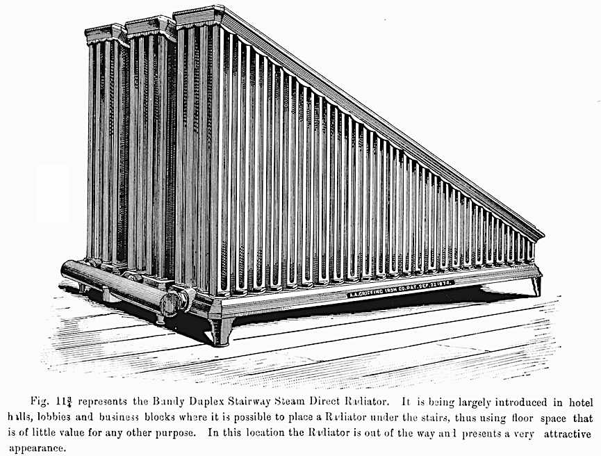 an illustration of a slanted 1891 hotel radiator