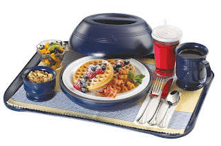 This cheery tray top features colorful foods showcased by Cambro insulated ware, swirl bowl and Lido Tumbler.